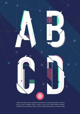 high tech: graphic alphabet in a set. Illustration