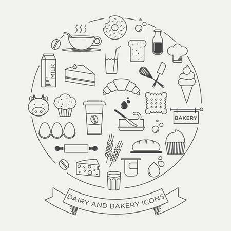 bakery: graphic minimalist icon set of dairy and bakery products