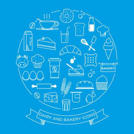 tiendas de comida: gráfico minimalista conjunto de iconos de lácteos y productos de panadería
