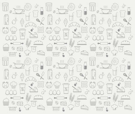 bakery: graphic minimalist pattern of bakery and dairy products
