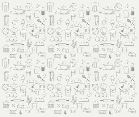 dairy: patrón minimalista gráfico de panadería y productos lácteos Vectores
