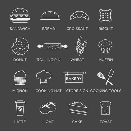 graphic minimalist icon set of bakery products
