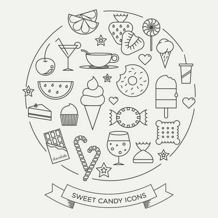 fruit smoothie: Sweets and candy minimal line icons in a set