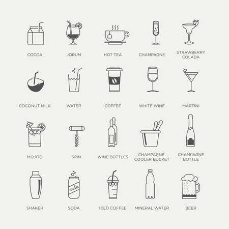 美しい最小限グラフィックのドリンク、カクテル、飲み物アイコンのセット  イラスト・ベクター素材