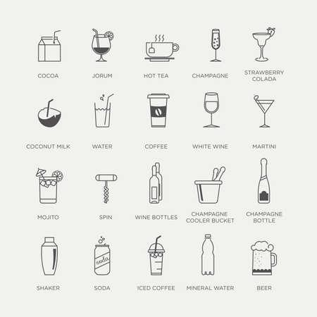 Set van mooie minimale grafische drankje, cocktail en dranken pictogrammen Stock Illustratie