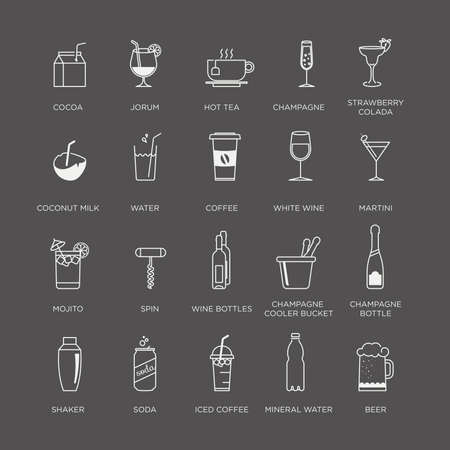 whie wine: Set of beautiful minimal graphic drink, cocktail and beverages icons