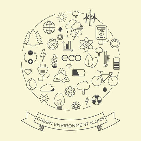 Environment and electricity thin line symbol icon set with a label Vector