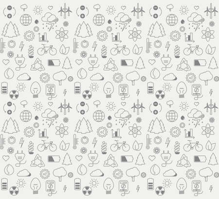 Environment and electricity vector thin line symbol icon set pattern Vector