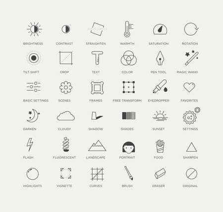 sharpen: graphic icons selection of creative and useful photo editing tools