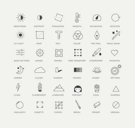 Icone grafica selezione di strumenti di editing foto creative e utili