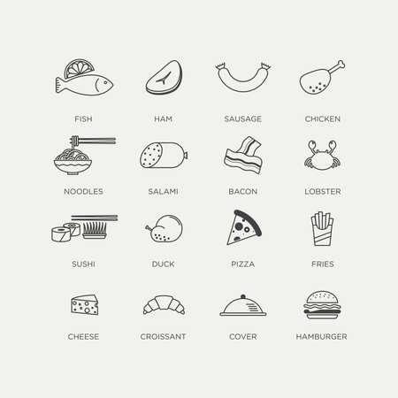 prepared food: graphic minimalist line icon set of prepared food
