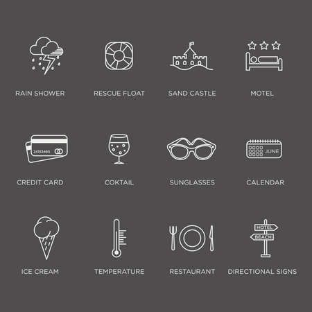negative graphic: Set of beautiful minimal graphic summer icons in negative color