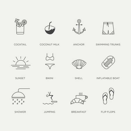 category: Set of beautiful minimal graphic summer icons in negative color