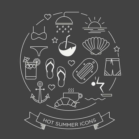 negative graphic: Set of beautiful minimal vector graphic summer icons in negative color