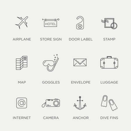 accommodation: Set of beautiful minimal vector graphic summer icons in negative color