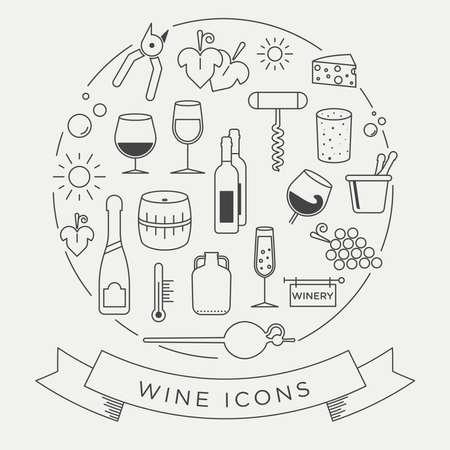 ベクトル グラフィックのワインのアイコンを設定します。シンプルなラインと