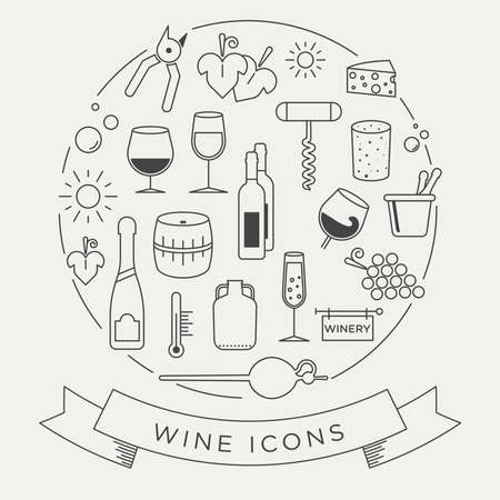Vector graphic wine icon set. With minimalist lines