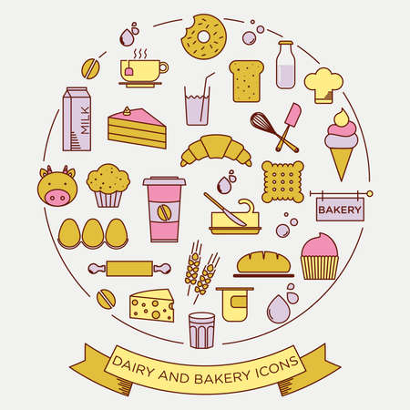 roll bar: graphic minimalist icon set of bakery and dairy products
