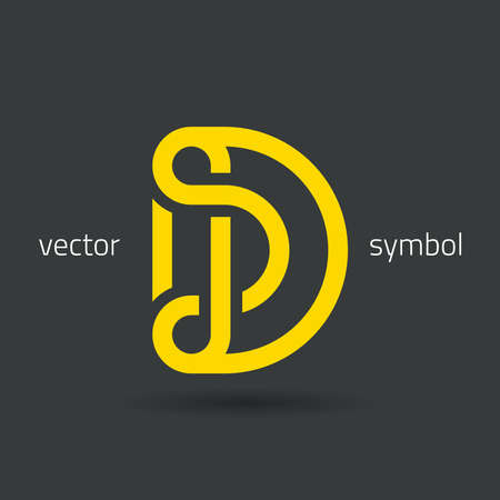 d: graphic decorative design alphabet  letter D  symbol