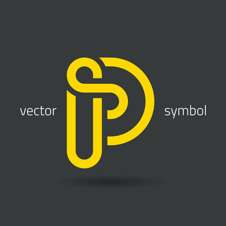 abstract letters: graphic decorative design alphabet  letter P  symbol