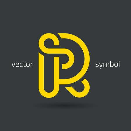 letter R: graphic decorative design alphabet  letter R  symbol