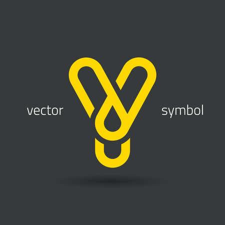 decorative letter: graphic decorative design alphabet  letter Y  symbol