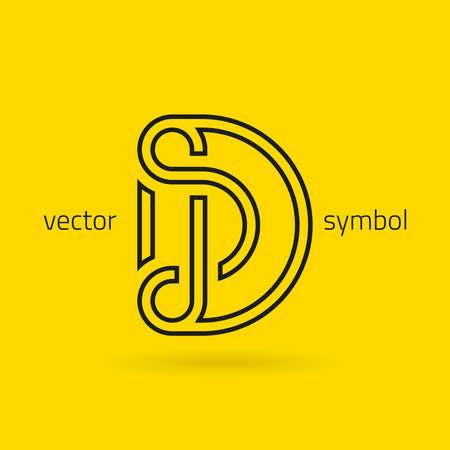 lettres alphabet: conception graphique décoratif alphabet  lettre D  symbole