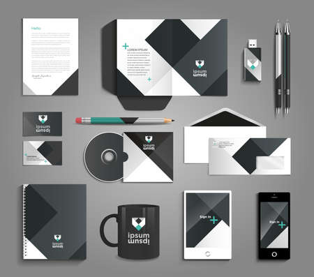Classic and professional stationery template design for your company 矢量图像