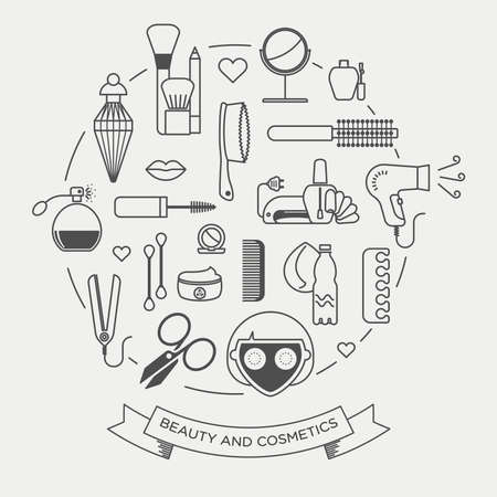 hair styling: Vector graphic icon set of beauty and cosmetics