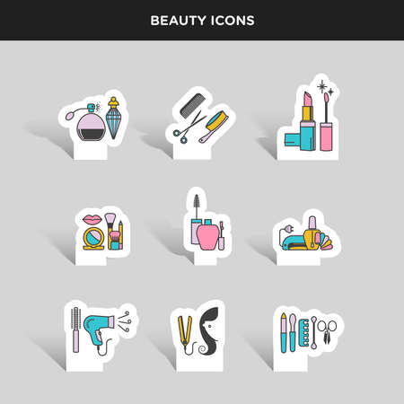 beauty treatment: Vector graphic color icon sticker set of beauty and cosmetics Illustration