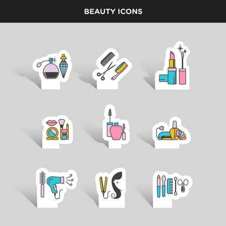 Vector, kleur pictogram sticker set van schoonheid en cosmetica