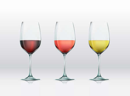 Realistic vector graphic glasses with wine selections. Red wine, rose, and white wine Vector