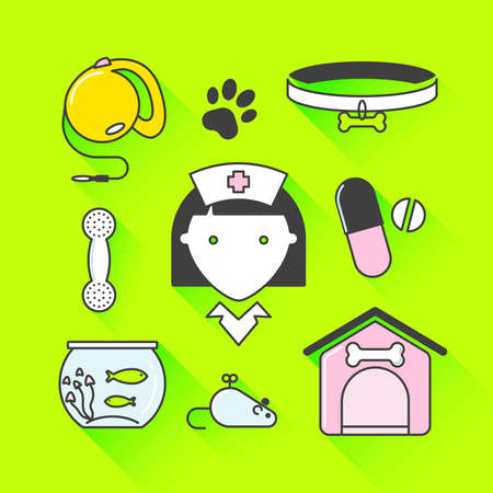 good grooming: Vector graphic icon set of vet and pet supplies with long shadow Illustration