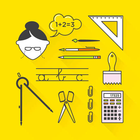 literate: Vector graphic icon set of school and education with long shadow Illustration