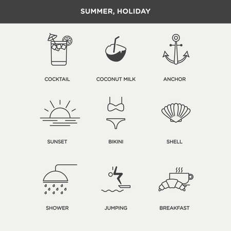 thin shell: Vector graphic icon set of summer and holiday