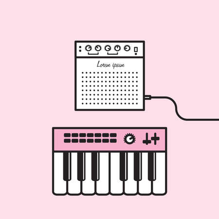 piano roll: Cute illustration of various object in minimal, iconic style