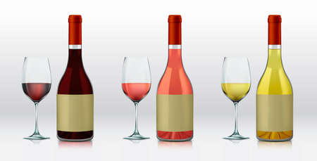 Realistic vector graphic bottles and glasses with wine selections. Red wine, rose, and white wine Vector