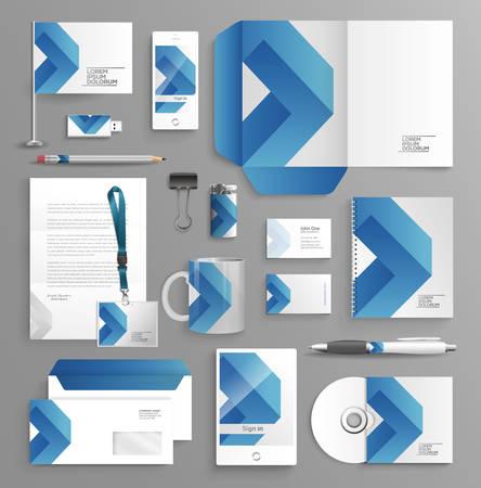 Affari Corporate identity set con diversi oggetti