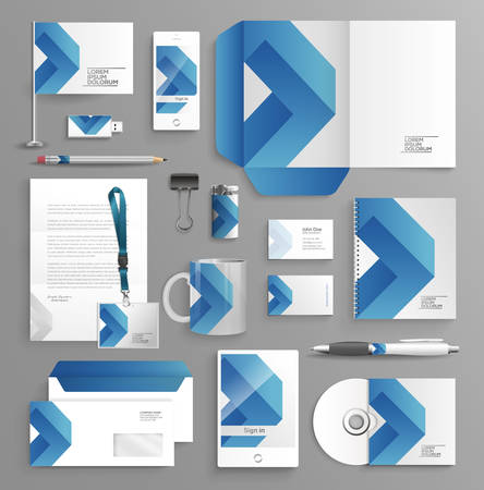 Corporate identity zakelijke set met verschillende voorwerpen Stock Illustratie