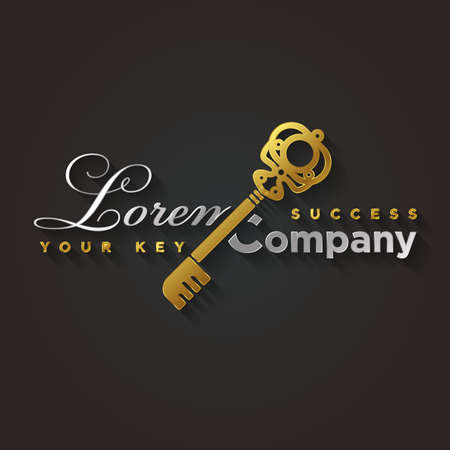 exclusive icon: Illustration of a golden key symbol for your company Illustration
