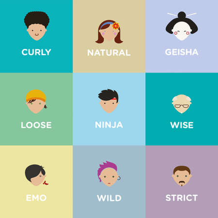 personalities: Minimal and iconic illustrations of a set of various avatars
