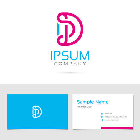 Business card design with typographic symbol in two colors Vector