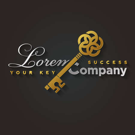 Illustration of a golden key symbol for your company Illustration