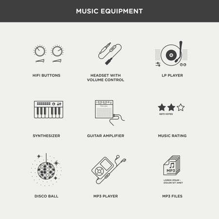 hifi: Set of beautiful minimal vector graphic icons of music equipments
