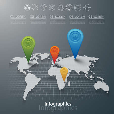 map of the world: Carefully designed illustration of infographics elements
