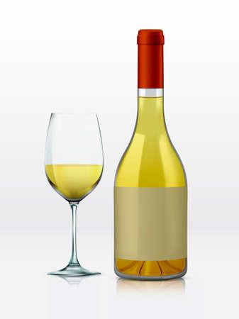 bouteille de vin: Réaliste vecteur bouteille graphique et le verre de vin blanc