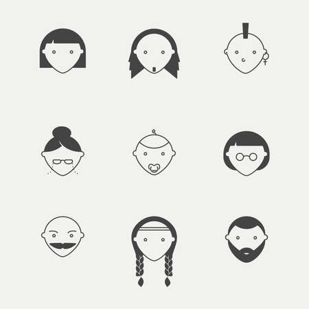 child hair: Different kinds of people in minimal iconic style Illustration