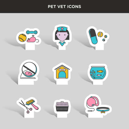 good grooming: Vector graphic colored icon sticker set of vet and pet supplies Illustration