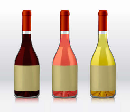 selections: Realistic vector graphic bottles of wine selections. Red wine, rose, and white wine