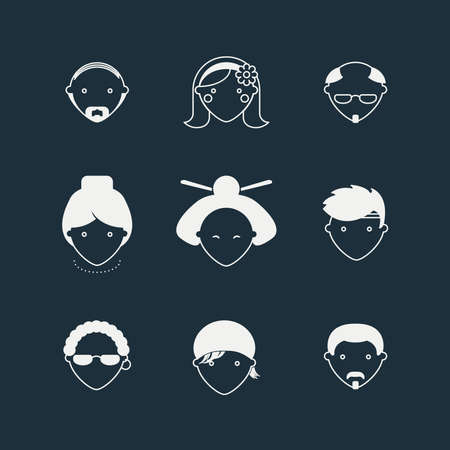 profile silhouette: Different kinds of people in minimal iconic style Illustration